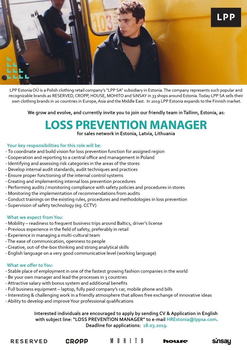CV Keskus tööpakkumine Loss Prevention Manager Baltics