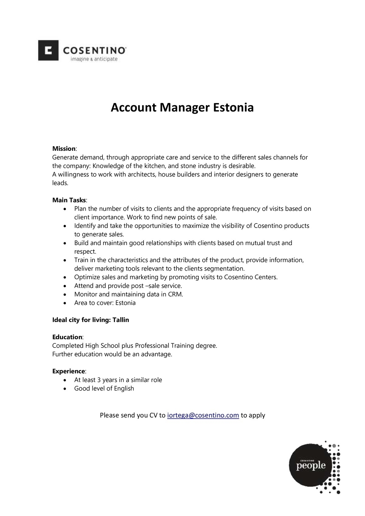 Cosentino Account Manager (m/f/x)
