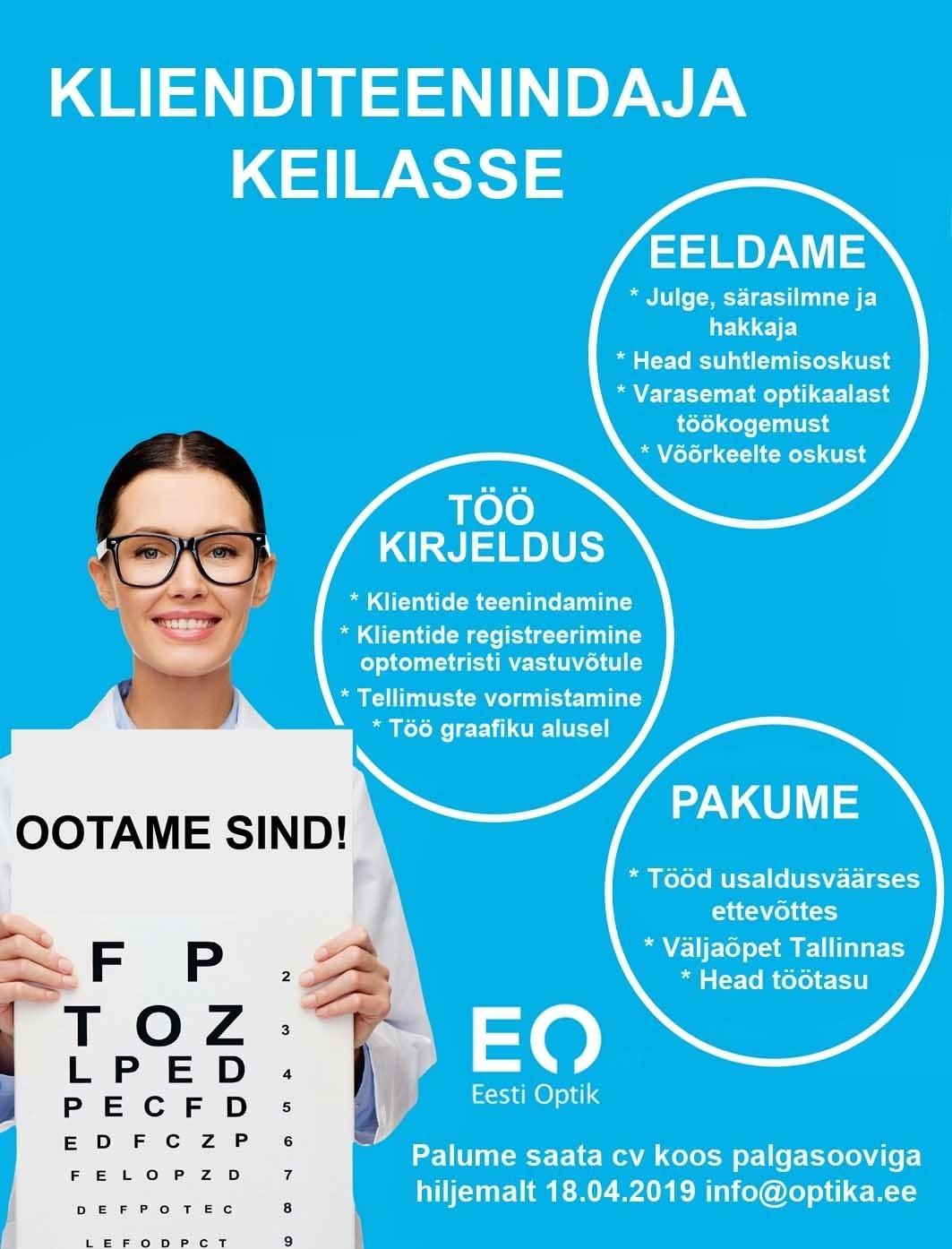 2a26b5b4cf3 CV Keskus tööpakkumine Eesti Optik OÜ Klienditeenindaja KEILA optika ...