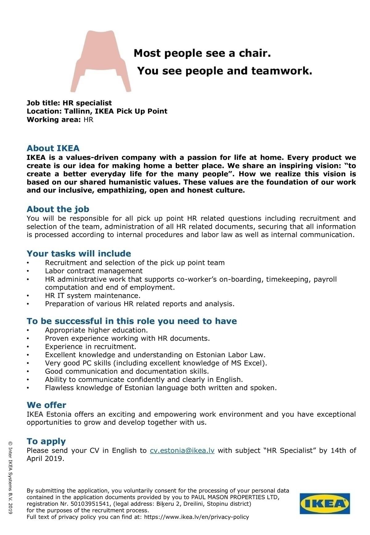 CV Keskus tööpakkumine HR Specialist