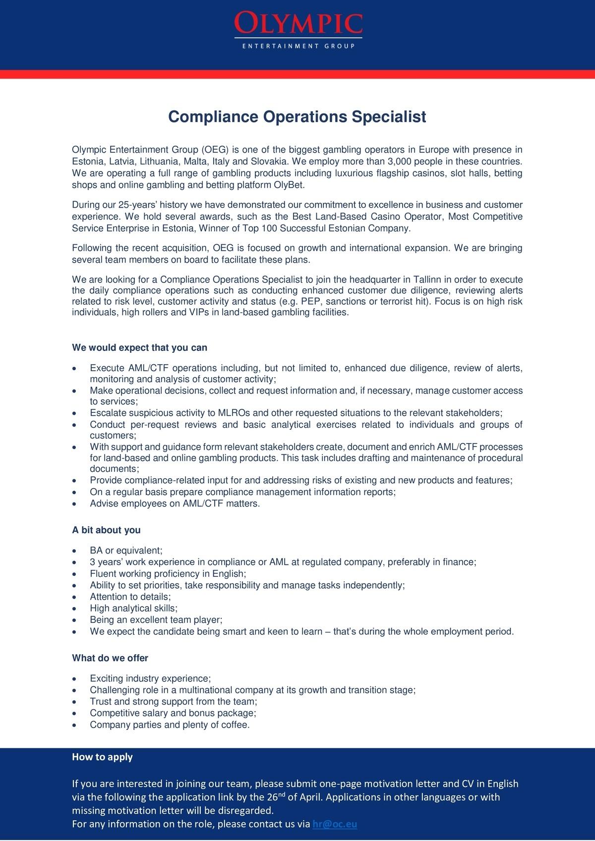 CV Keskus tööpakkumine Compliance Operations Specialist
