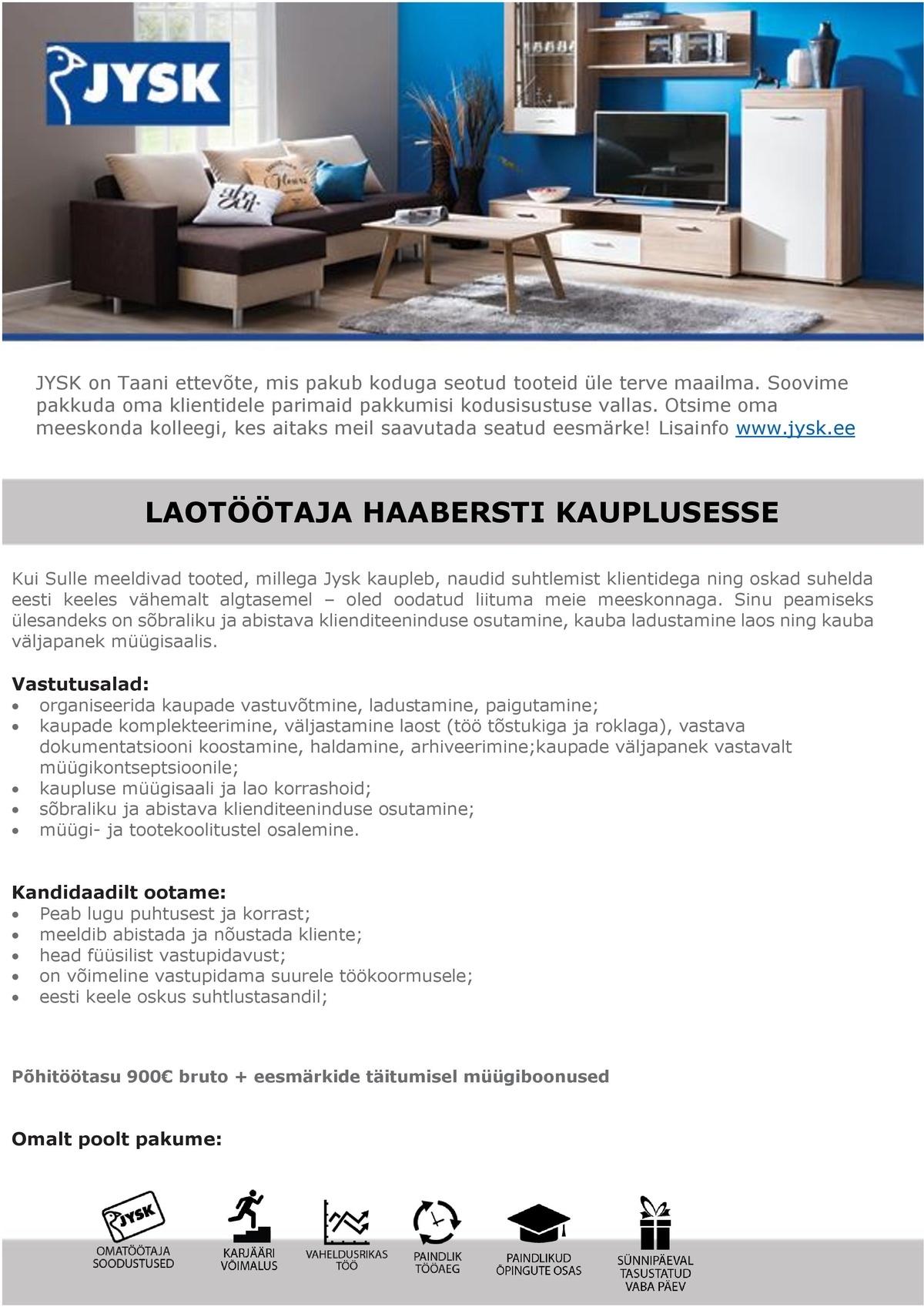 ceda0bf2765 CV Keskus tööpakkumine Laotöötaja Tallinna Haabersti Jyski