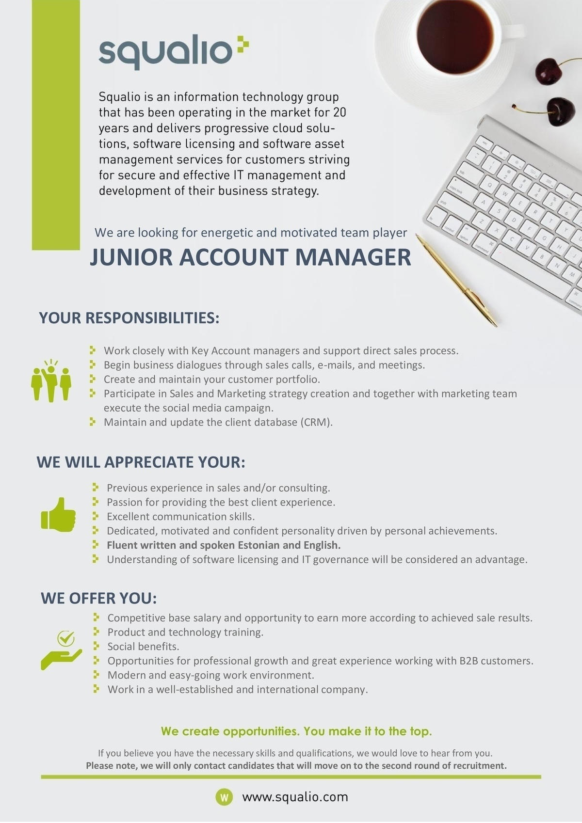Squalio Estonia OÜ - JUNIOR ACCOUNT MANAGER - Tallinn