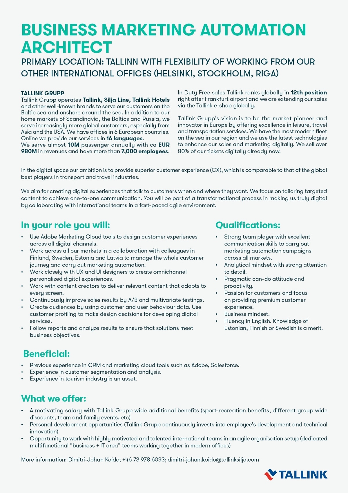 CV Keskus tööpakkumine Business Marketing Automation Architect