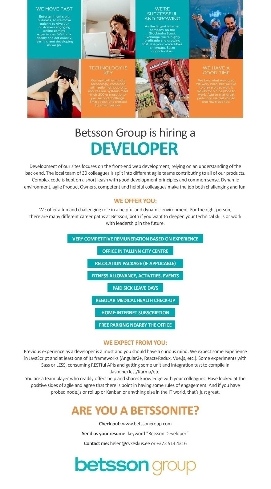 Betsson Services Ltd Developer