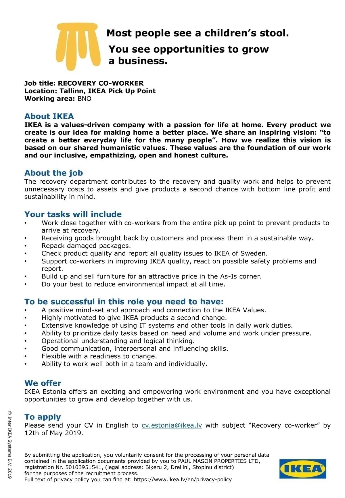 CV Keskus tööpakkumine Recovery co-worker