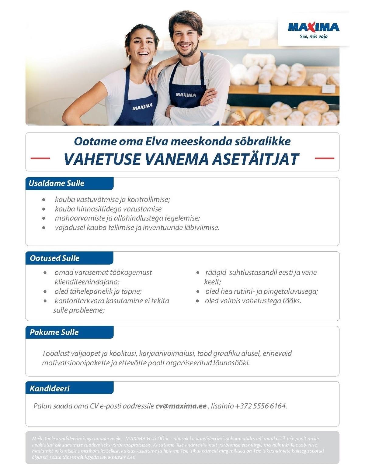 CV Keskus tööpakkumine Maxima Eesti OÜ Vahetuse vanema
