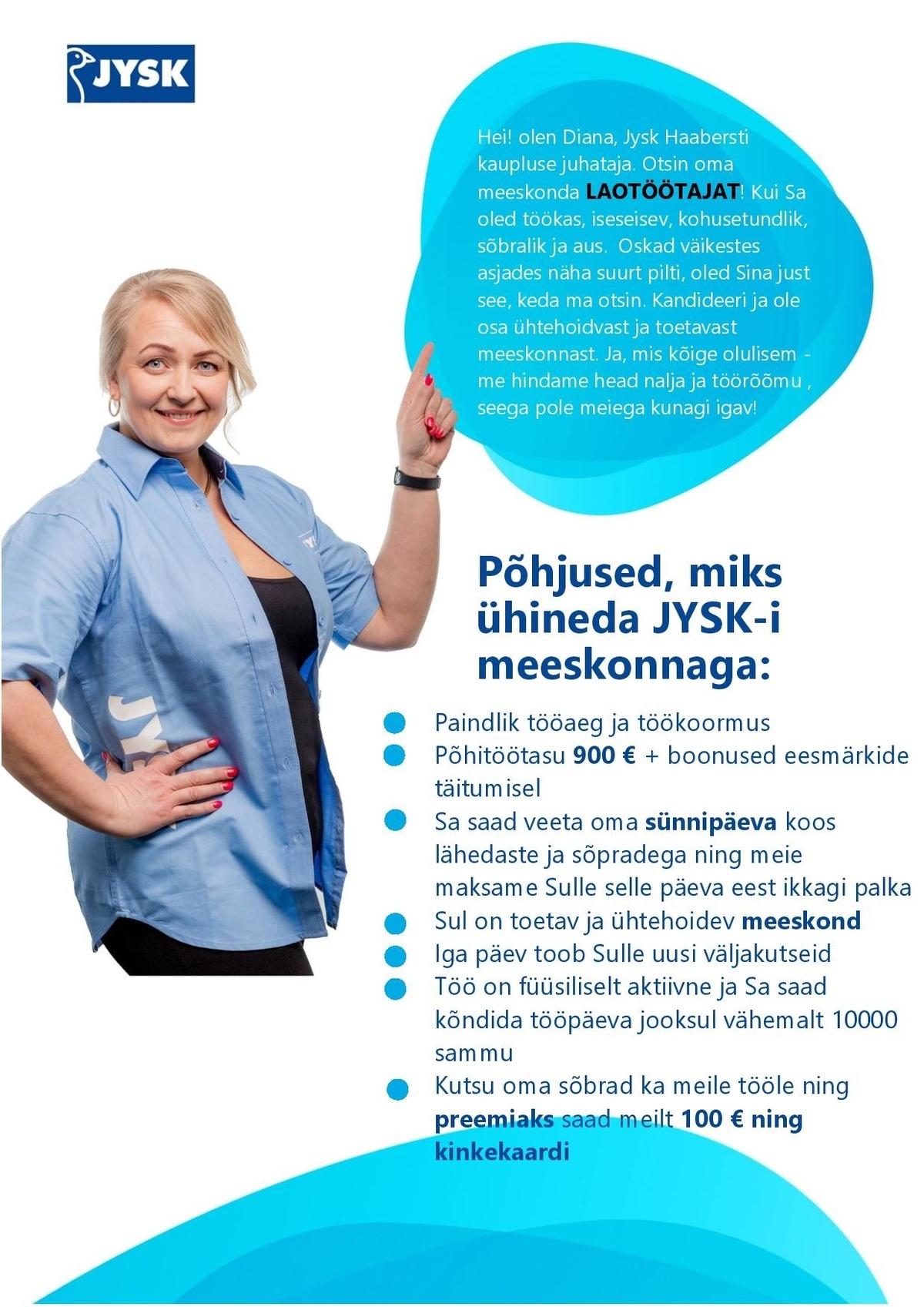 868cdf2c898 CV Keskus tööpakkumine Jysk Linnen\'n Furniture OÜ Laotöötaja ...