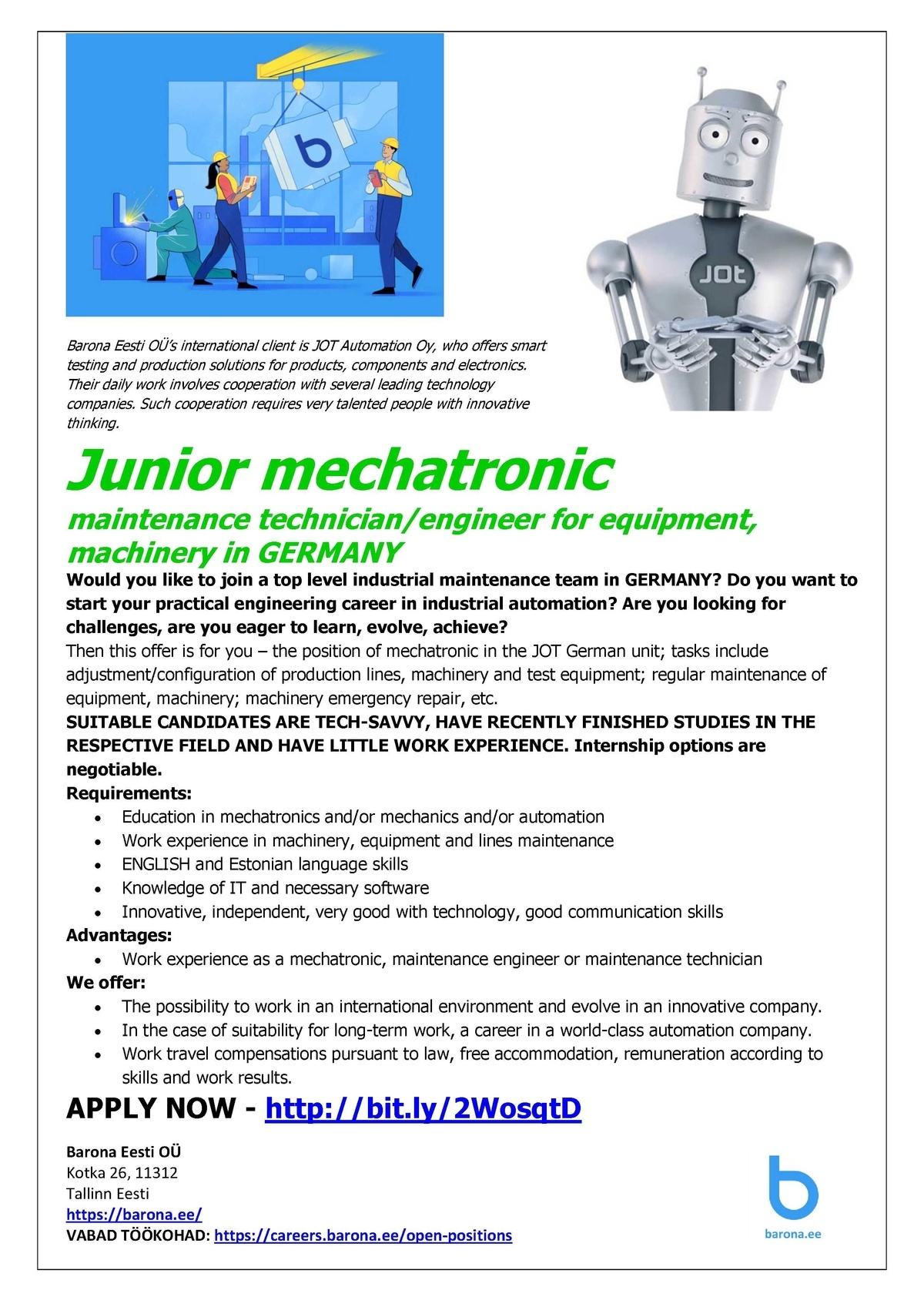 Firma nimi peidetud Junior mechatronic  maintenance technician/engineer for equipment, machinery in GERMANY