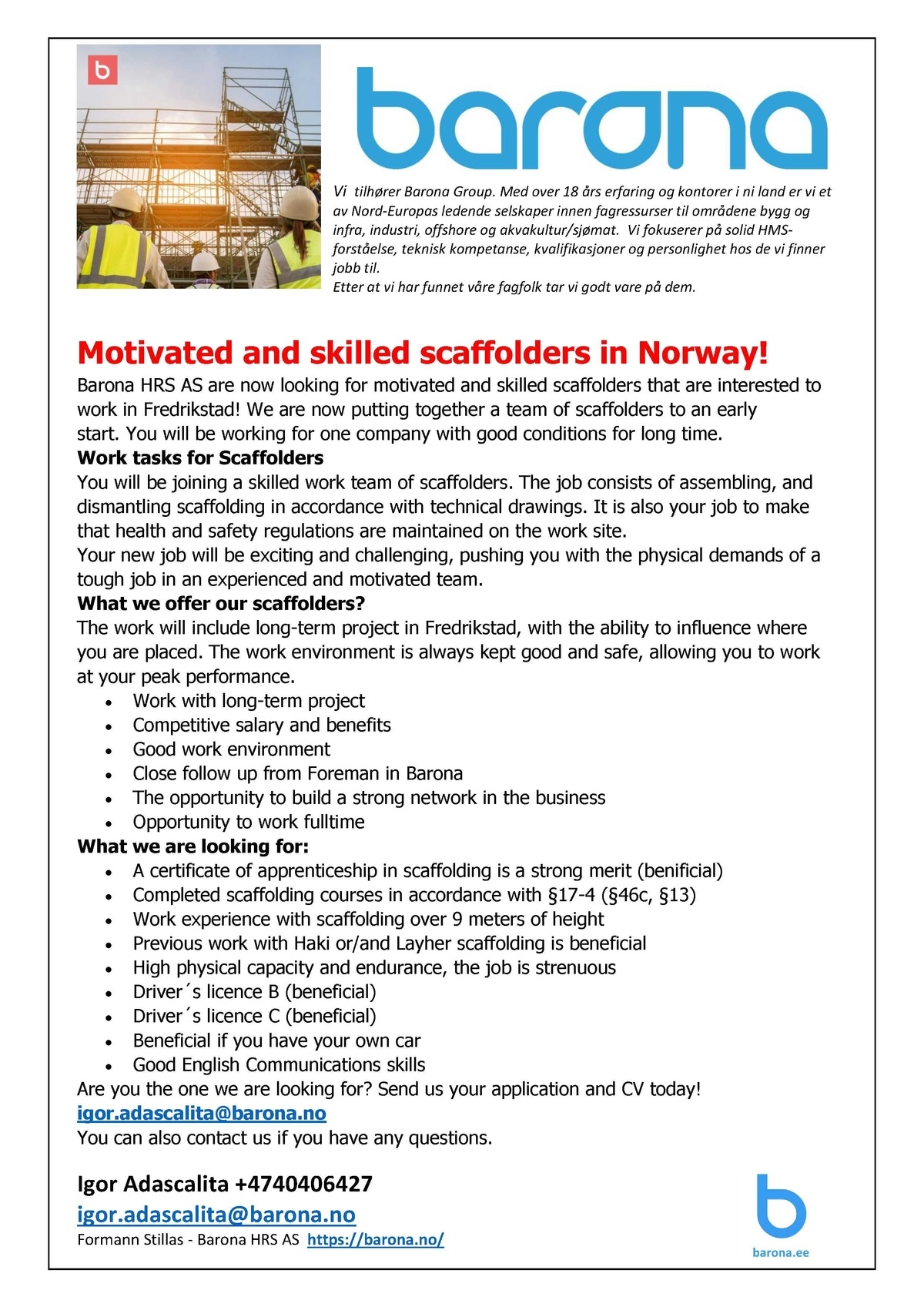 CV Market´s client  Motivated and skilled scaffolders in Norway!