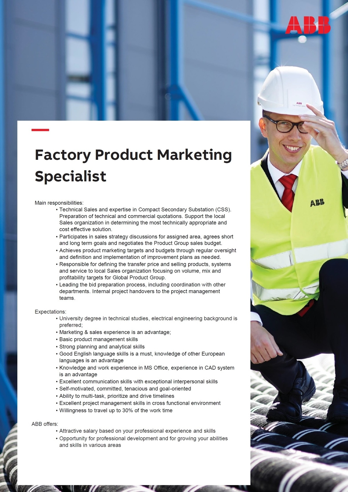 CV Market´s client Factory Product  Marketing Specialist