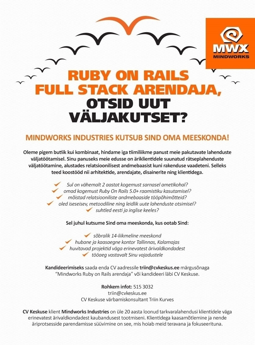 CVKeskus.ee klient Ruby on Rails Full stack arendaja
