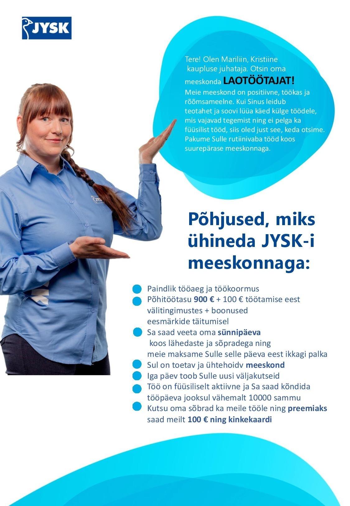e3780072868 CV Keskus tööpakkumine Jysk Linnen\'n Furniture OÜ Müüja-Laotöötaja ...