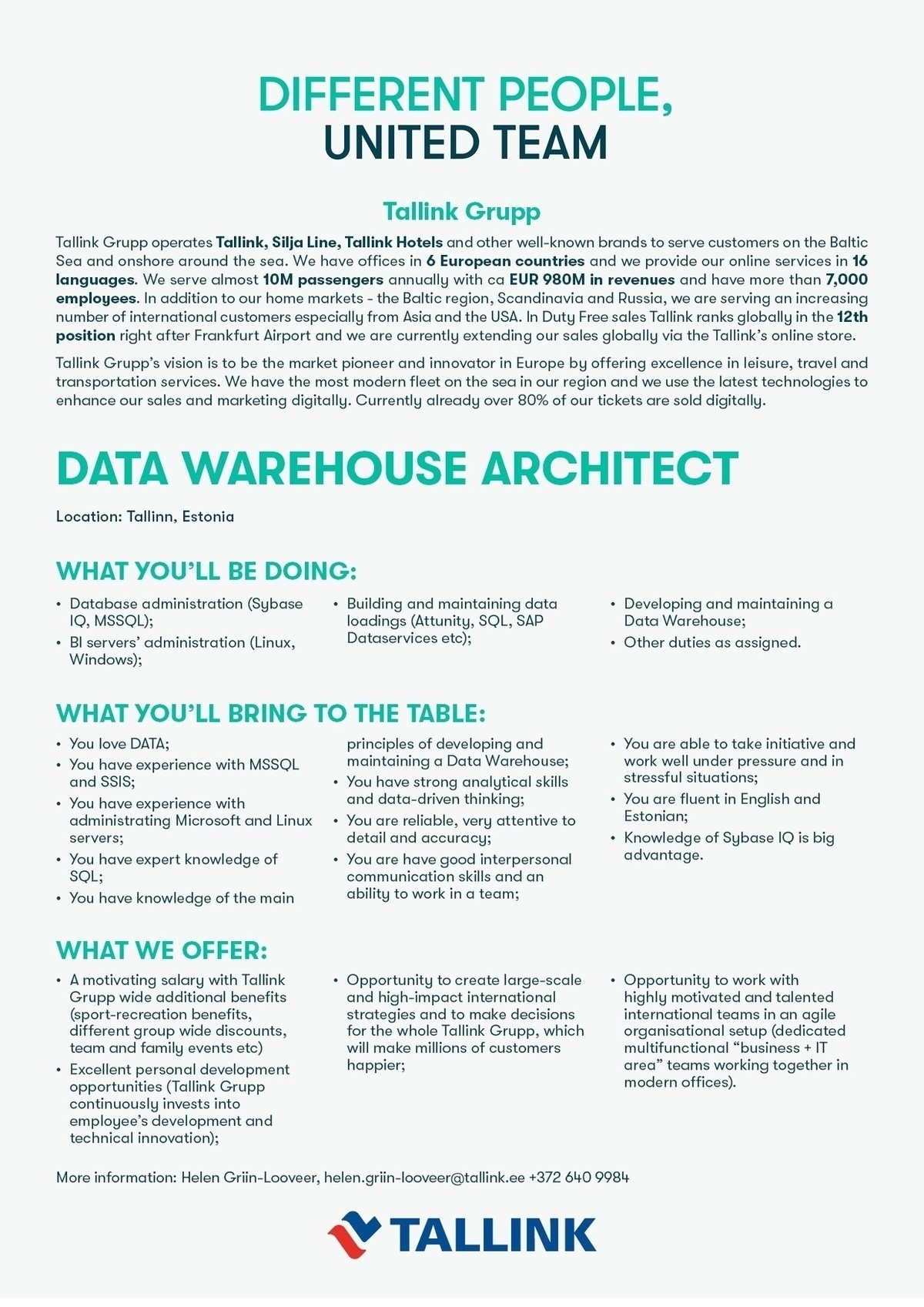 CV Market´s client DATA WAREHOUSE ARCHITECT