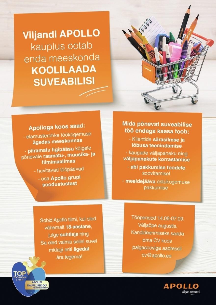 bbdc96575e9 APOLLO KAUPLUSED OÜ APOLLO Viljandi kauplus ootab enda meeskonda  särasilmseid SUVEABILISI