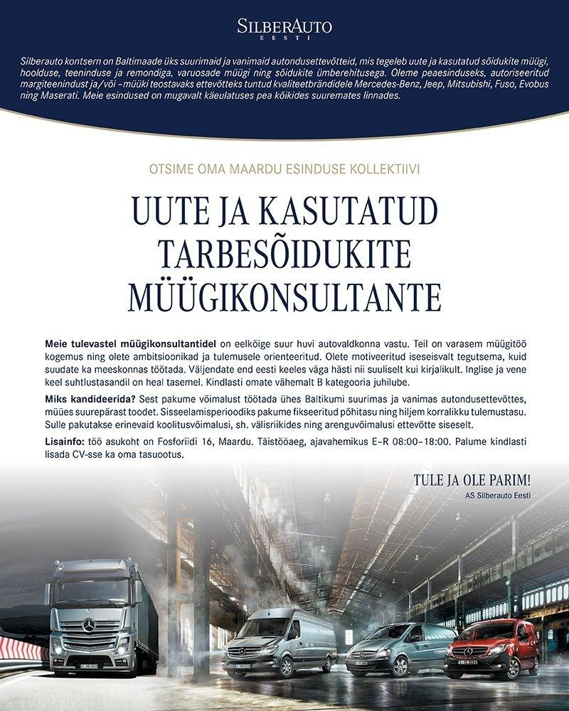 3626b77e961 Silberauto Eesti AS Uute ja kasutatud tarbesõidukite müügikonsultandid