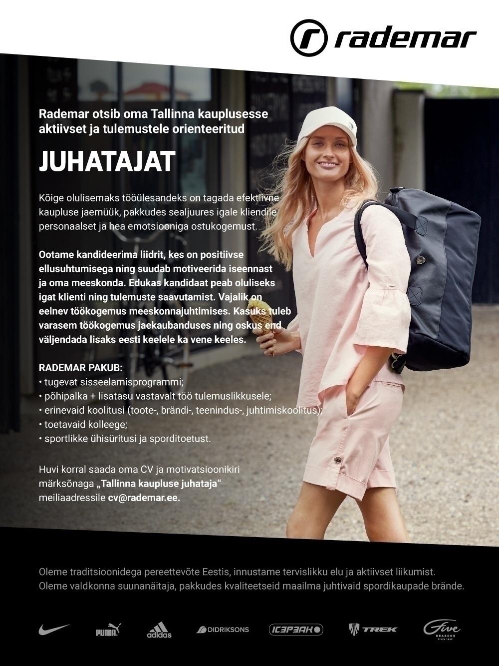 e7b0bba878c CV Keskus tööpakkumine OÜ Rademar Kaupluse juhataja Järve Rademari