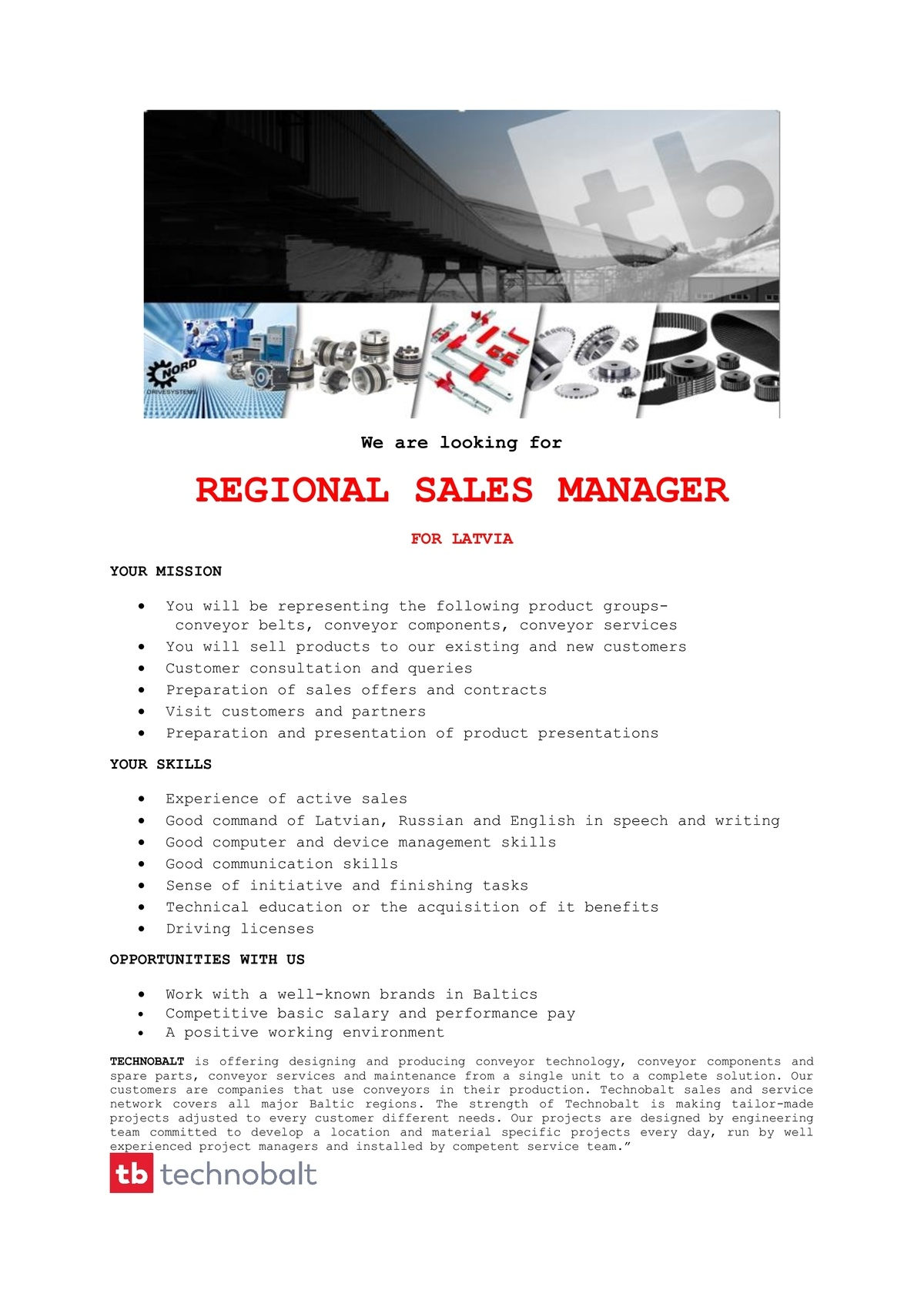 CV Market´s client Regional Sales Manager for Latvia