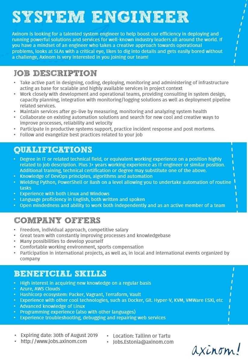 CV Keskus tööpakkumine System Engineer