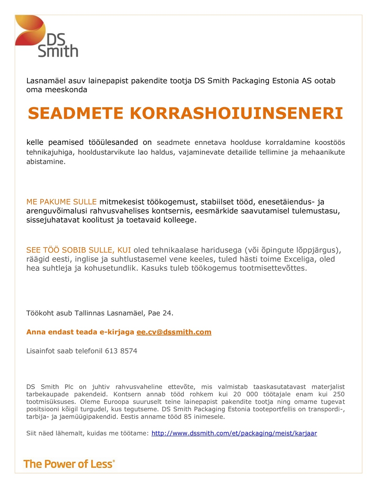 DS Smith Packaging Estonia AS Seadmete korrashoiuinsener
