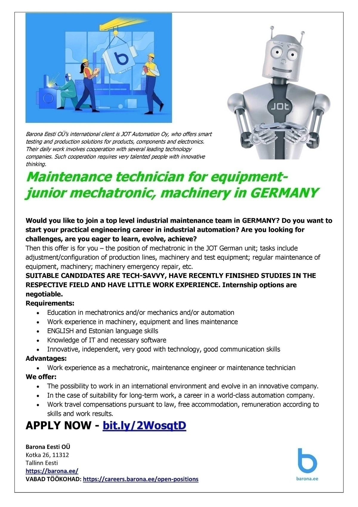 CVKeskus.ee client Mechatronic machinery in GERMANY (Junior to senior level)