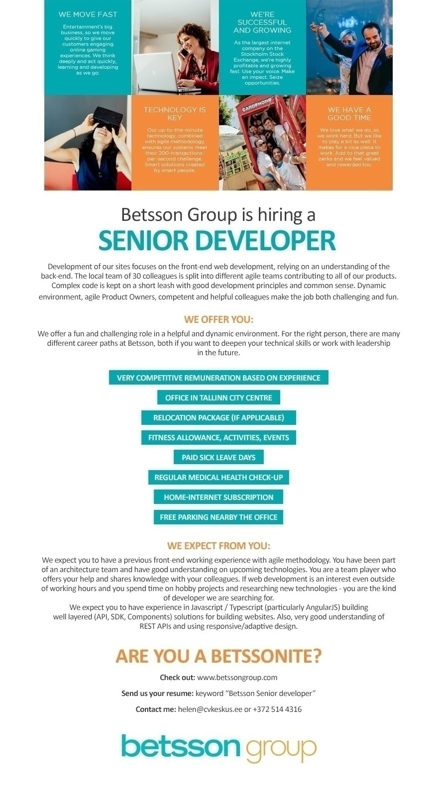 CVKeskus.ee client Senior Developer (front-end)