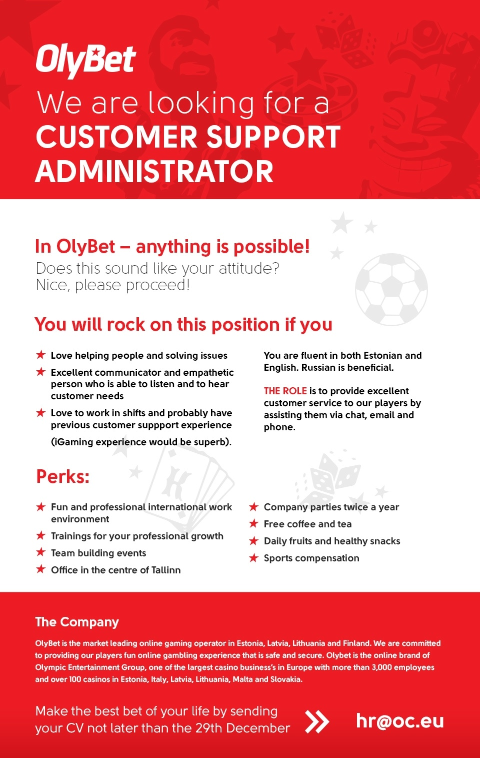 CVKeskus.ee client Customer Support Administrator, OlyBet