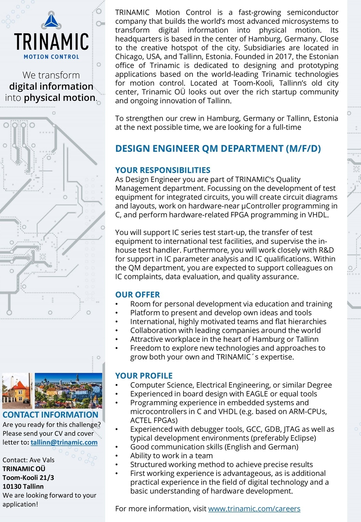 CV Market´s client DESIGN ENGINEER QM DEPARTMENT (M/F/D)