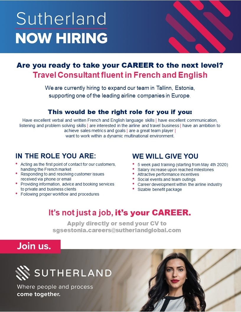 CVKeskus.ee client Travel Consultant Fluent in French and English