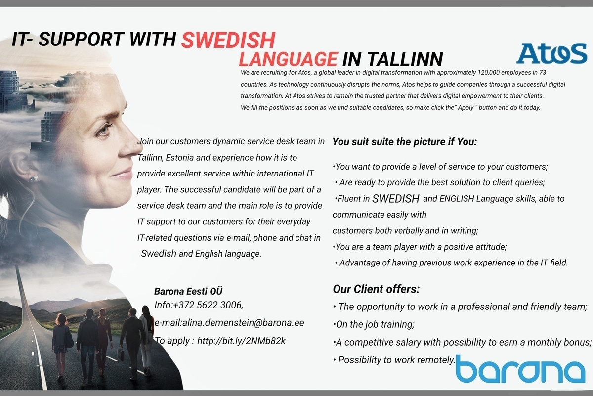 CVKeskus.ee client  IT- SUPPORT WITH SWEDISH LANGUAGE IN TALLINN