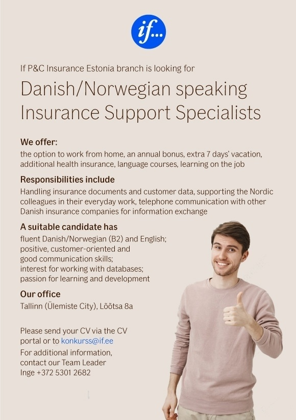 CVKeskus.ee client Danish/Norwegian speaking Insurance Support Specialists
