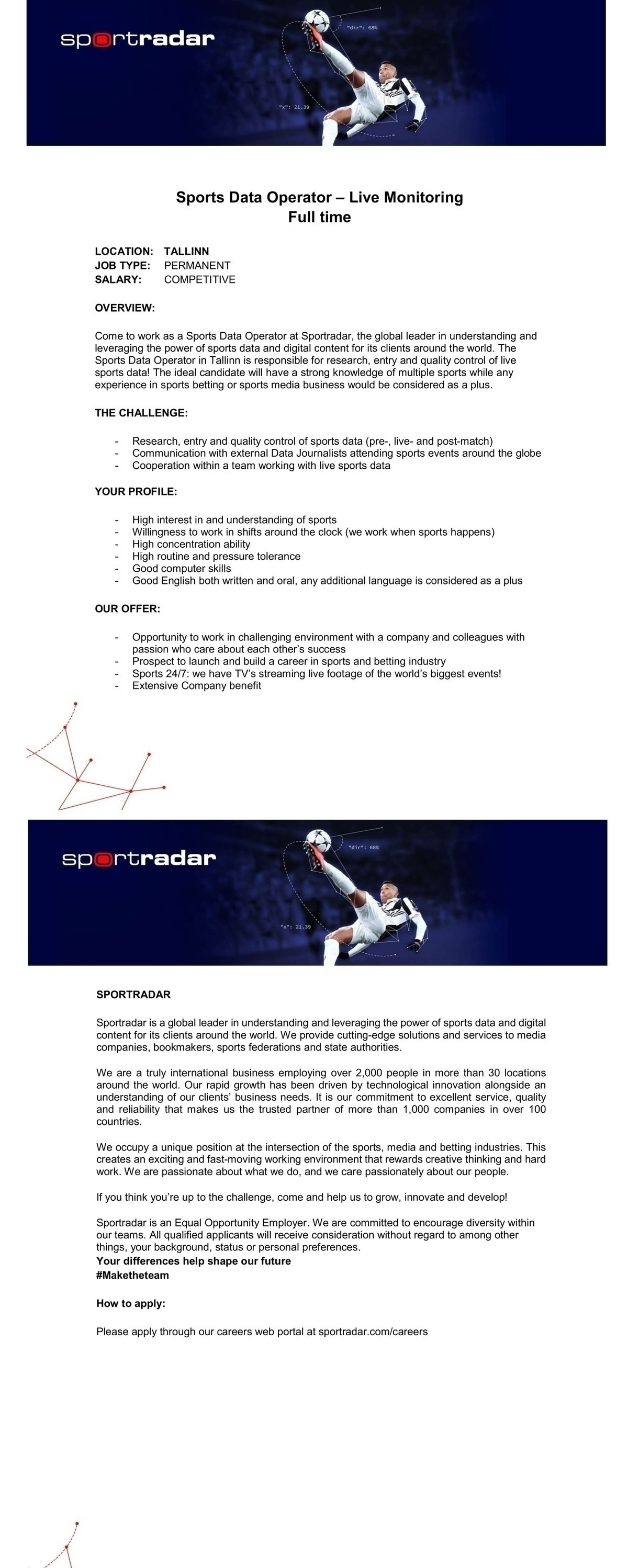 Sportradar OÜ Sports Data Operator – Live Monitoring Full time