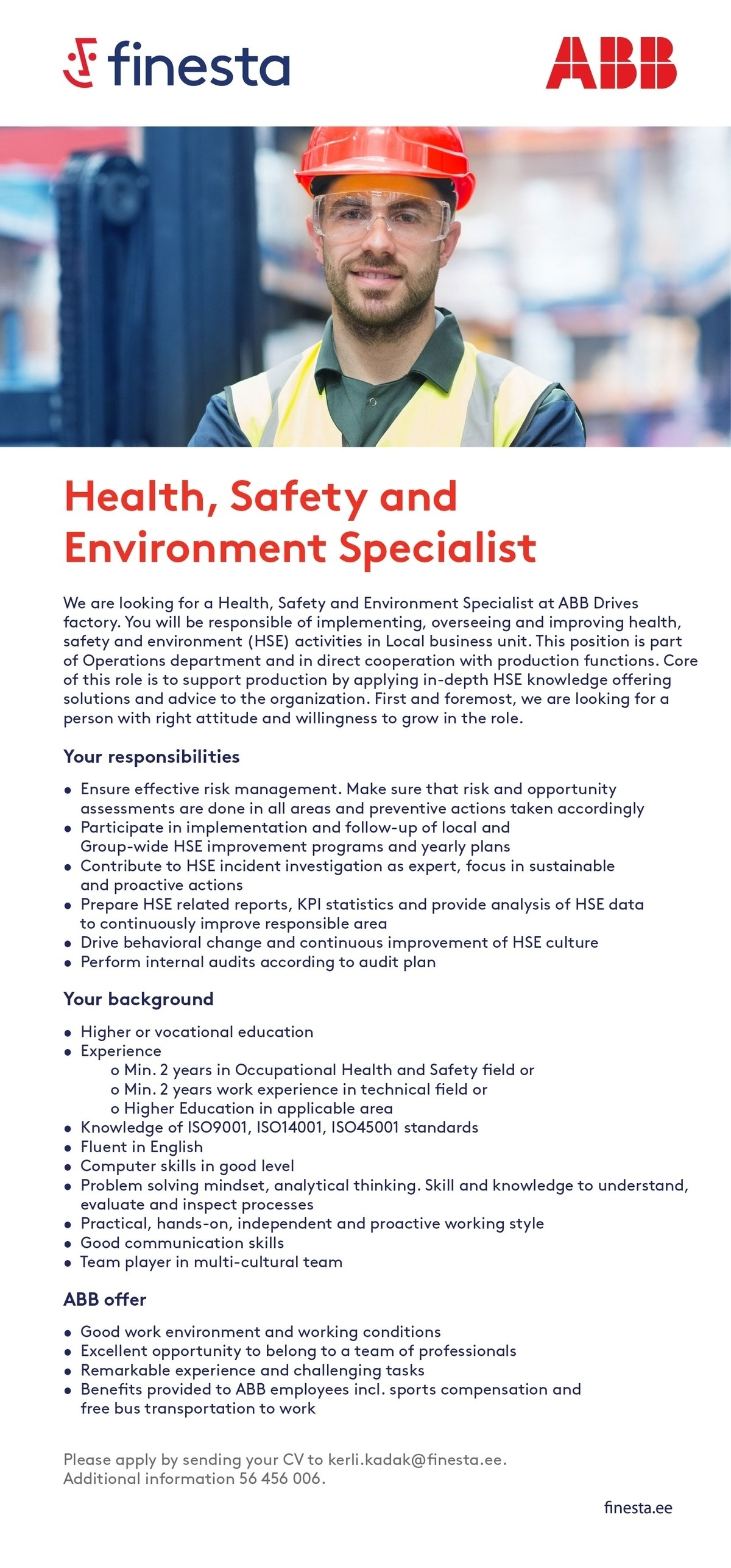 CVKeskus.ee client Health, Safety and Environment Specialist