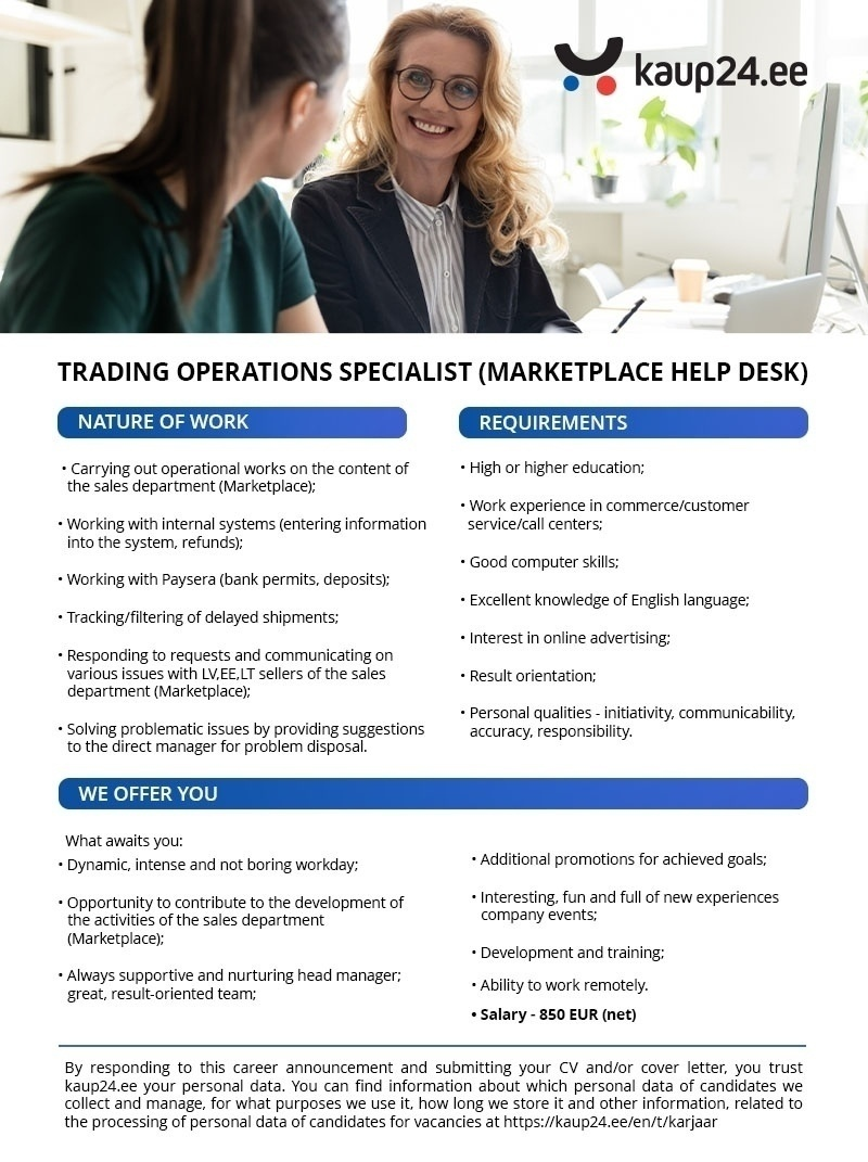 CVKeskus.ee client Trading Operations Specialist (MARKETPLACE HELP DESK)
