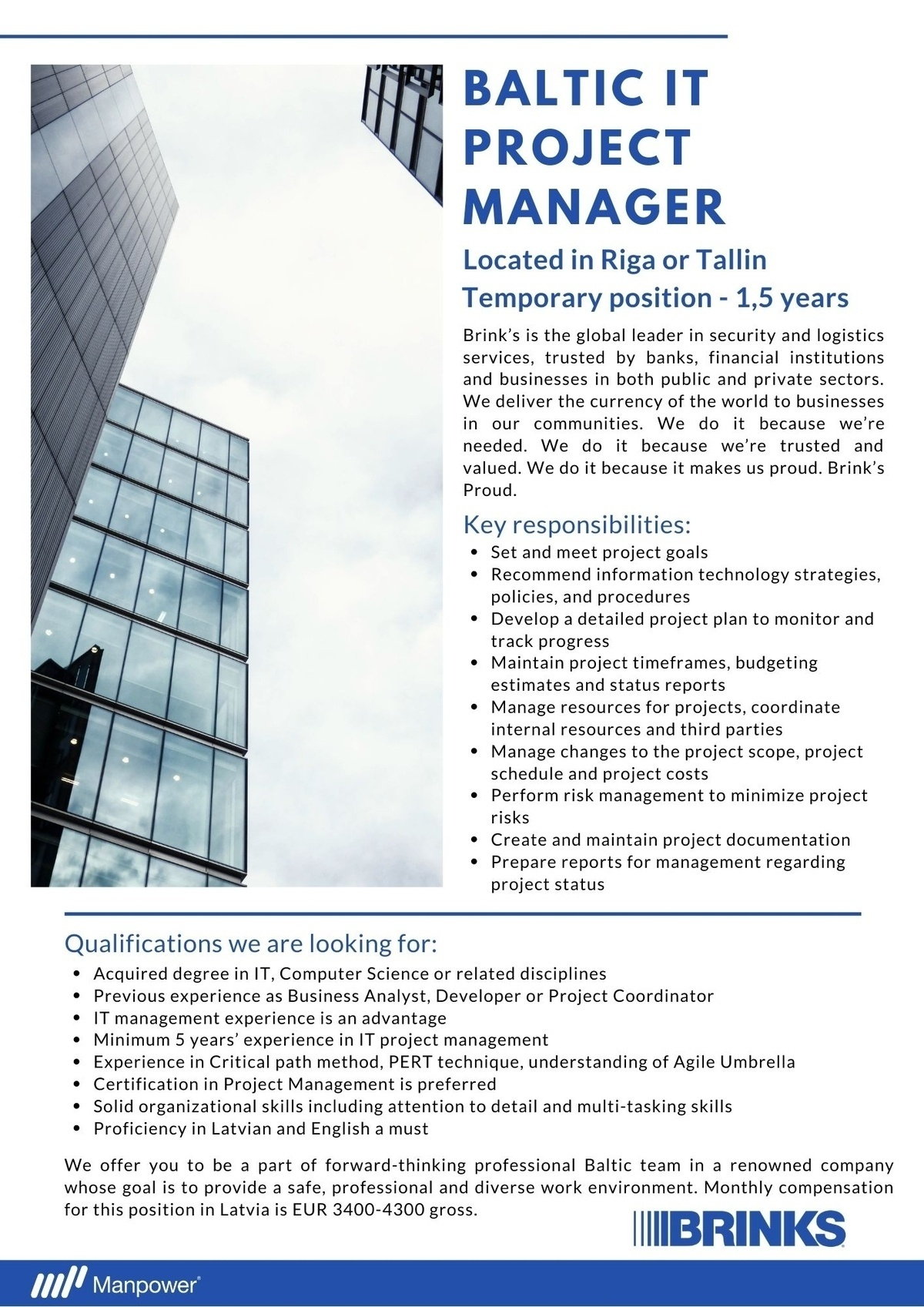 Manpower OÜ Baltic IT Project Manager