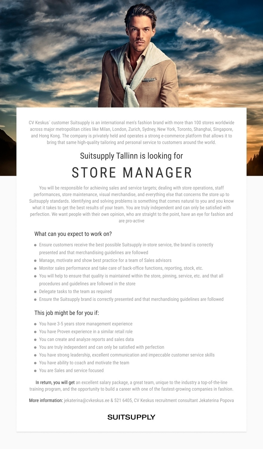 Suitsupply Suitsupply Tallinn STORE MANAGER