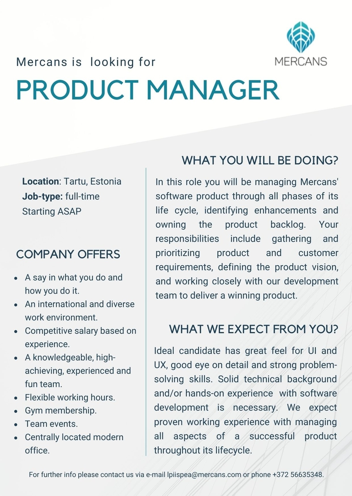 Mercans OÜ Product Manager