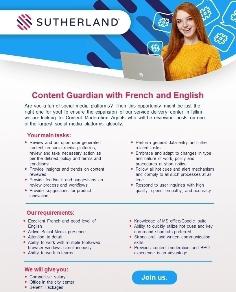 CVKeskus.ee client Content guardian with French and English