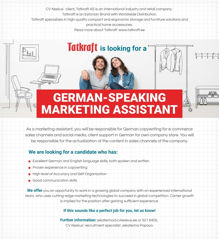 CV KESKUS OÜ German-Speaking Marketing Assistant
