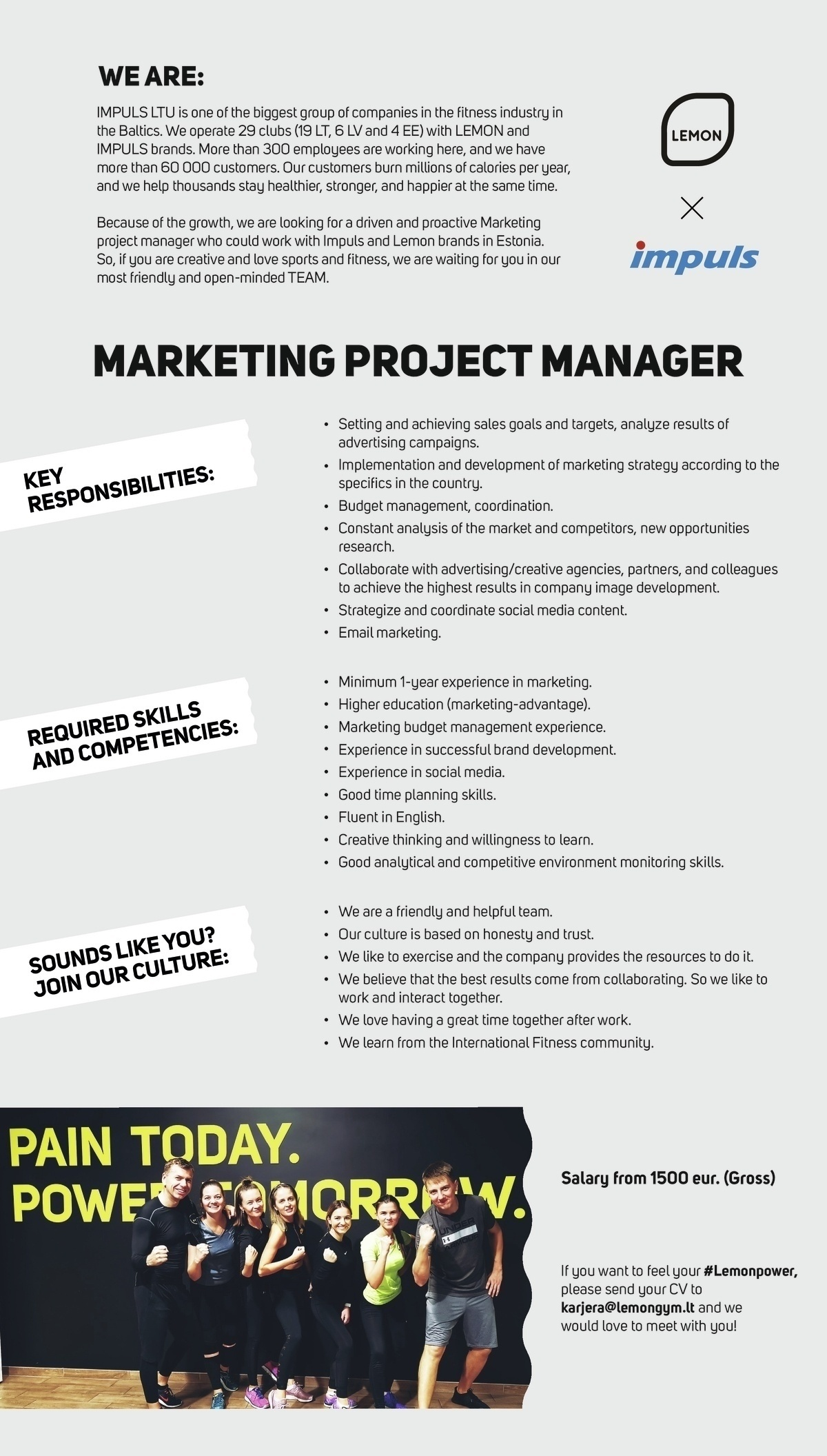Lemon Gym OÜ Marketing project manager